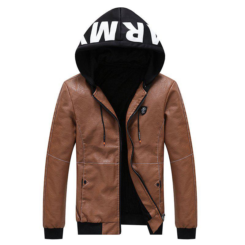 Sale Men Autumn Stylish Youth Leather Hoodie Jacket