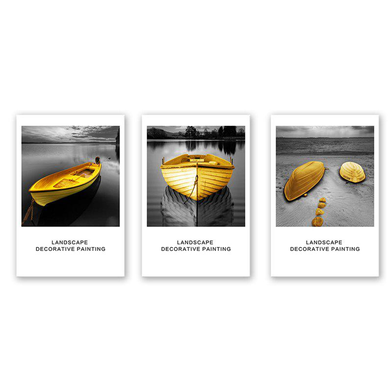 Hot 3PCS W504 Lake Small Yellow Boat Pattern Frameless Painting