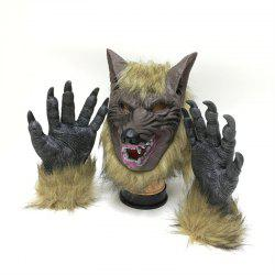 Werewolf Latex Mask Gloves Wolf Claw Halloween Party Props -