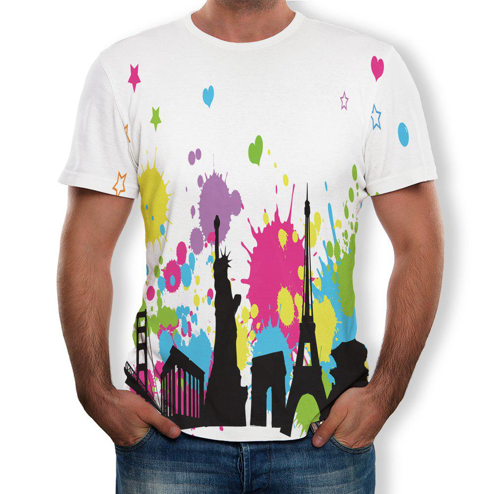 Affordable Fashion Simple New Men's Large Size 3D Digital Printing Short-sleeved T-shirt