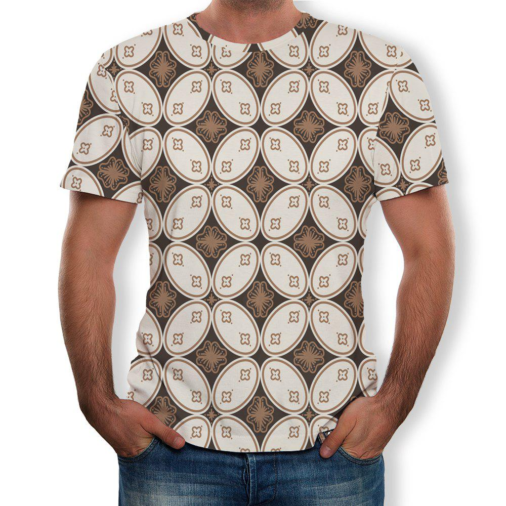 Shop Fashion Simple New Men's Large Size 3D Digital Printing Short-sleeved T-shirt