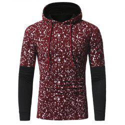 Sleeve Stitching Men's Casual Slim Printed Hooded Long-sleeved T-shirt -