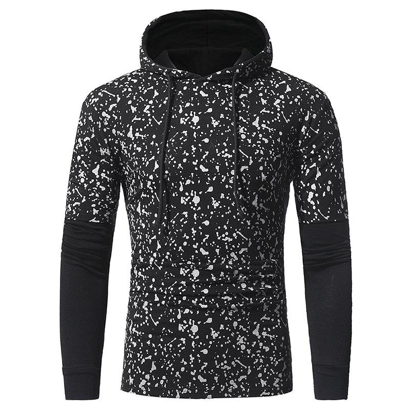 Affordable Sleeve Stitching Men's Casual Slim Printed Hooded Long-sleeved T-shirt