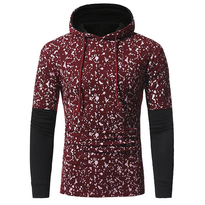 Best Sleeve Stitching Men's Casual Slim Printed Hooded Long-sleeved T-shirt