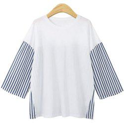 2018 Autumn Plus Size Long Sleeved Loose Striped T-shirts -