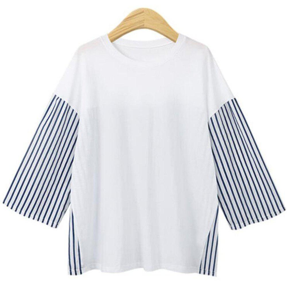 Cheap 2018 Autumn Plus Size Long Sleeved Loose Striped T-shirts