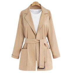 Plus Size Lapel Long-sleeved Casual Trench -