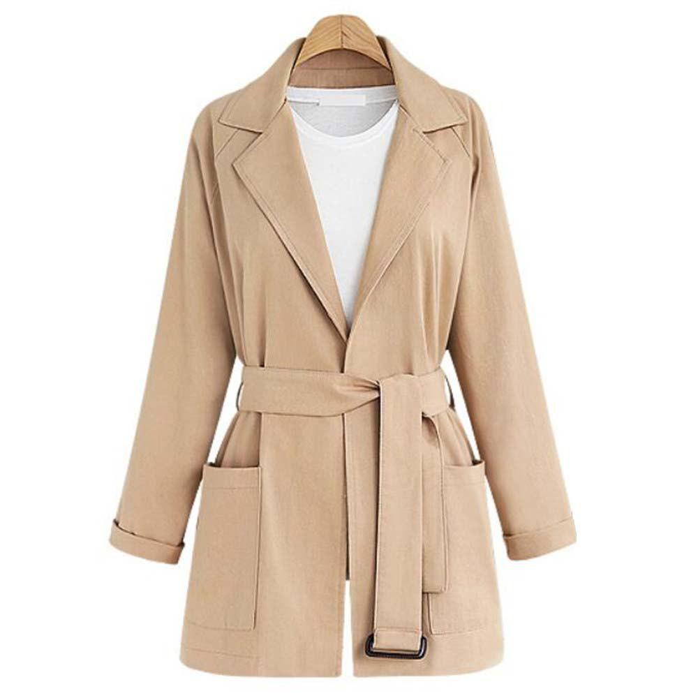 Fashion Plus Size Lapel Long-sleeved Casual Trench