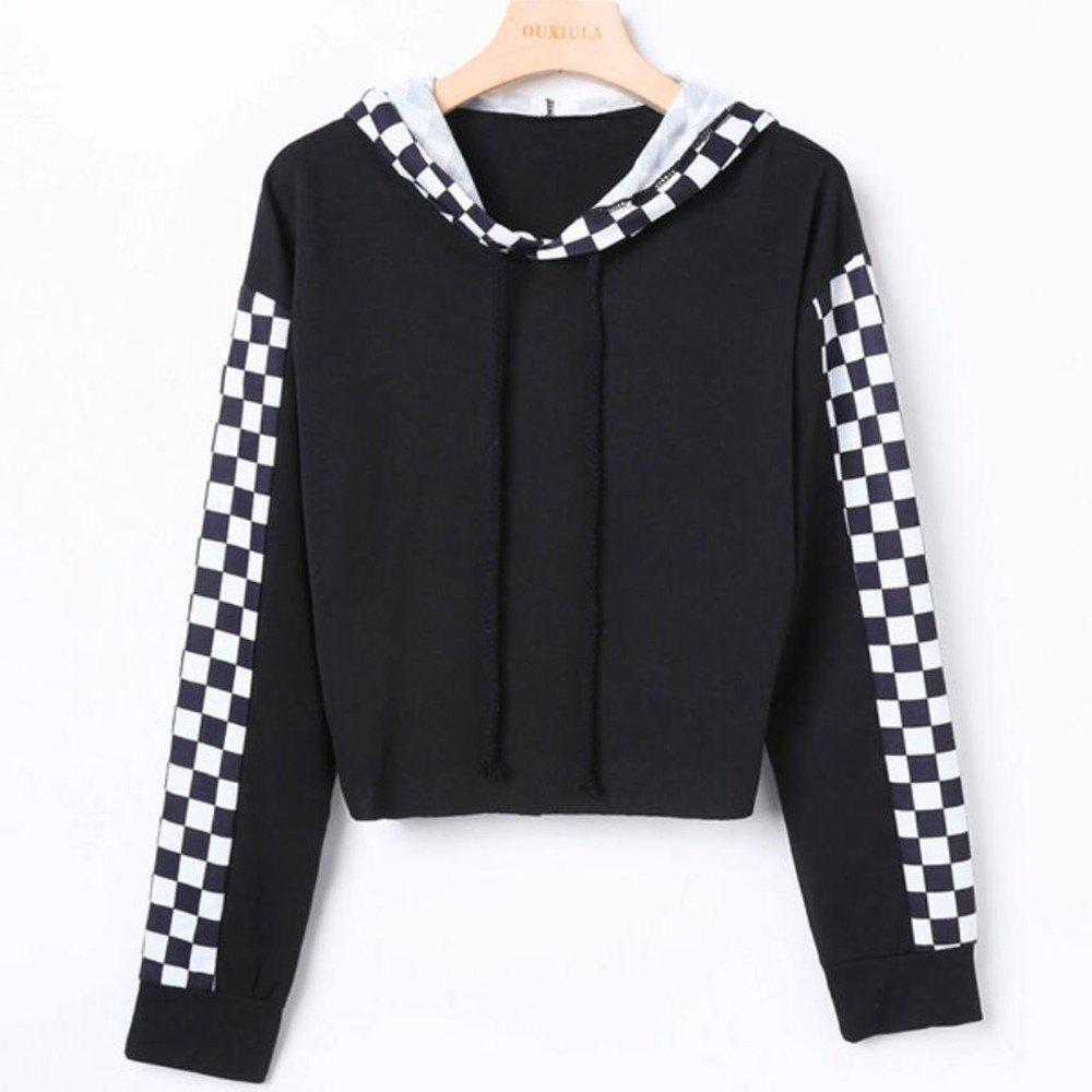 New Black and White Plaid Long Sleeved Hoodie