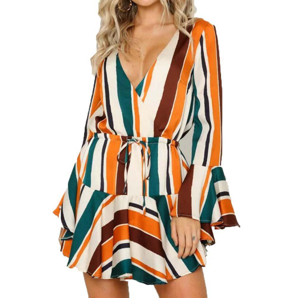 Outfits Color Striped Long Sleeved V Collar Dress