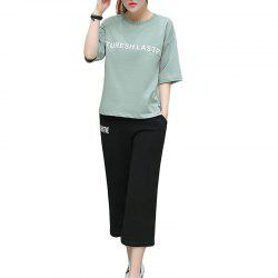 Letter Loose Casual Seven Point Pants Sports Suit -