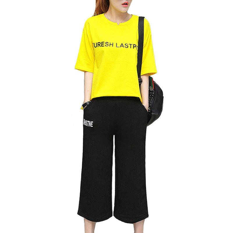 New Letter Loose Casual Seven Point Pants Sports Suit