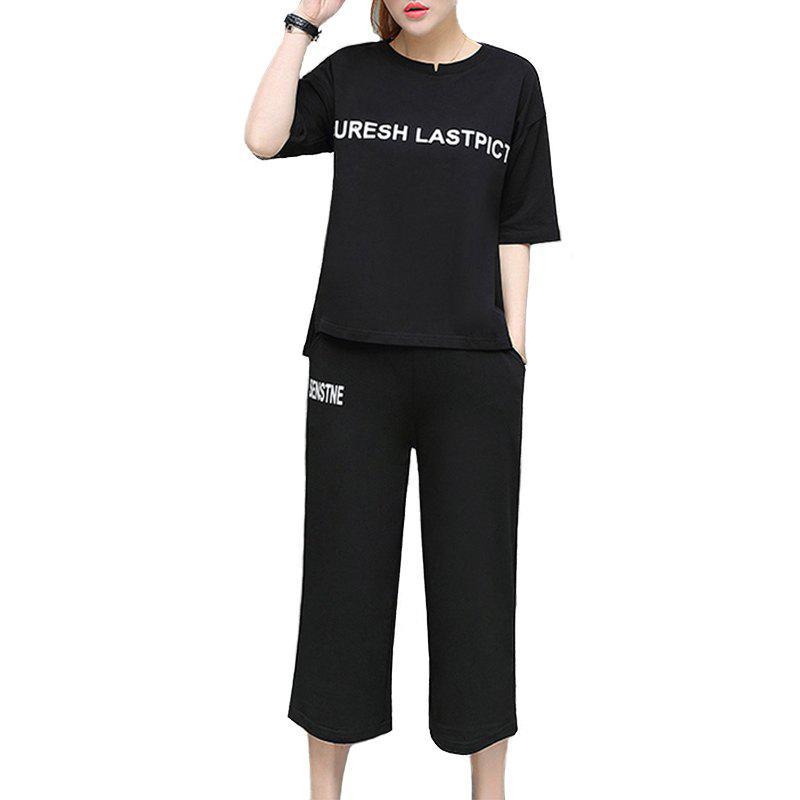 Outfit Letter Loose Casual Seven Point Pants Sports Suit