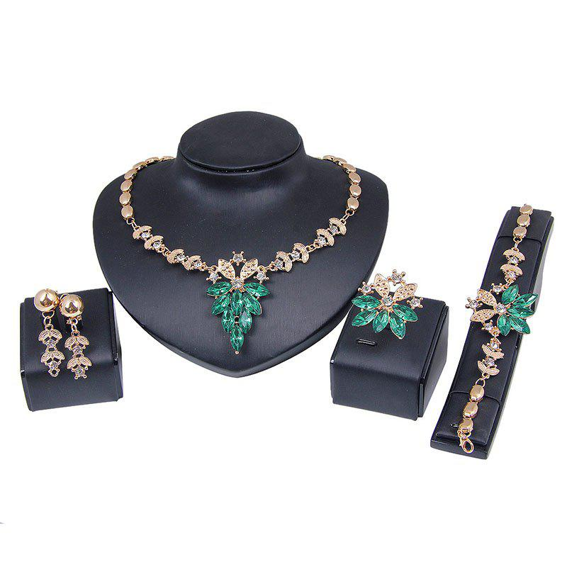 Trendy Fashion  Crystal Diamond Earrings Ring Necklace Bracelet Four-piece Jewelry