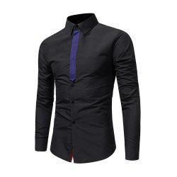Men's Individuality Ribbon Splicing Casual Shirt Business Youth Fashion Long Sle -