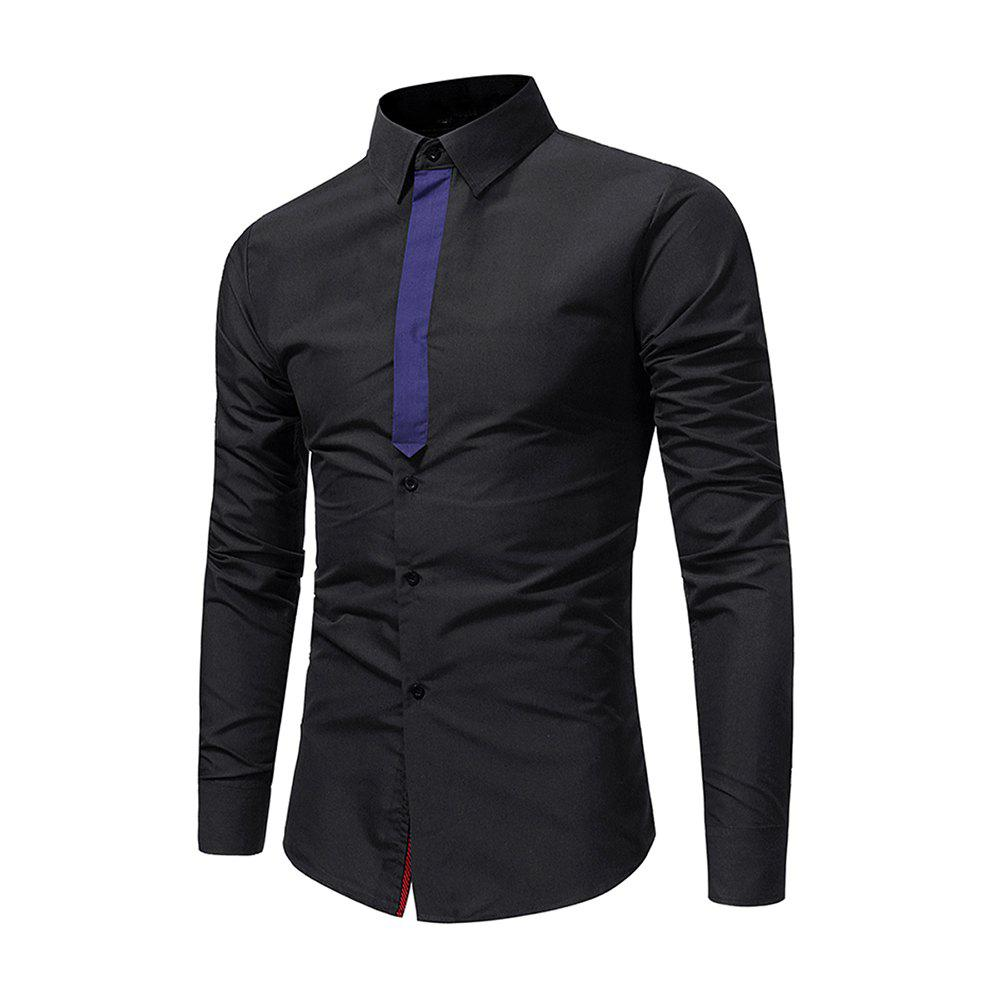Online Men's Individuality Ribbon Splicing Casual Shirt Business Youth Fashion Long Sle