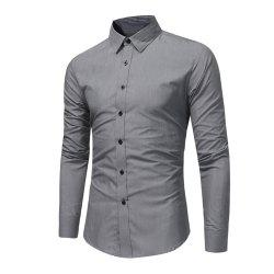 Men'S Fashion Business Dress Long-Sleeved Shirt Tide Men'S Solid Color Wild Slim -