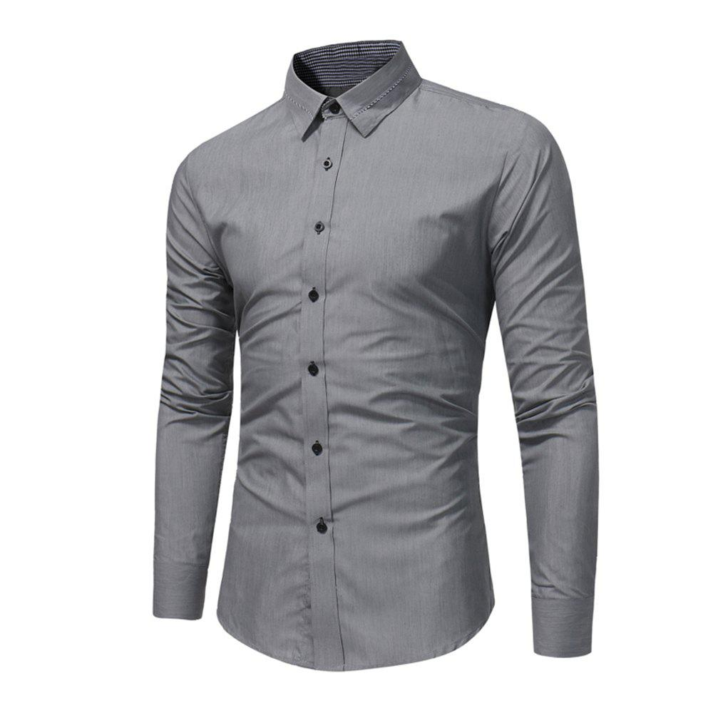 Buy Men'S Fashion Business Dress Long-Sleeved Shirt Tide Men'S Solid Color Wild Slim