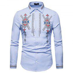 Men's Royal Court Wind Embroidered Large Size Long Sleeve Shirt -
