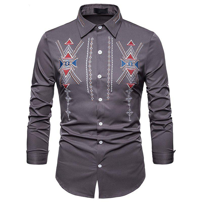 Shop Men's Royal Court Wind Embroidered Large Size Long Sleeve Shirt