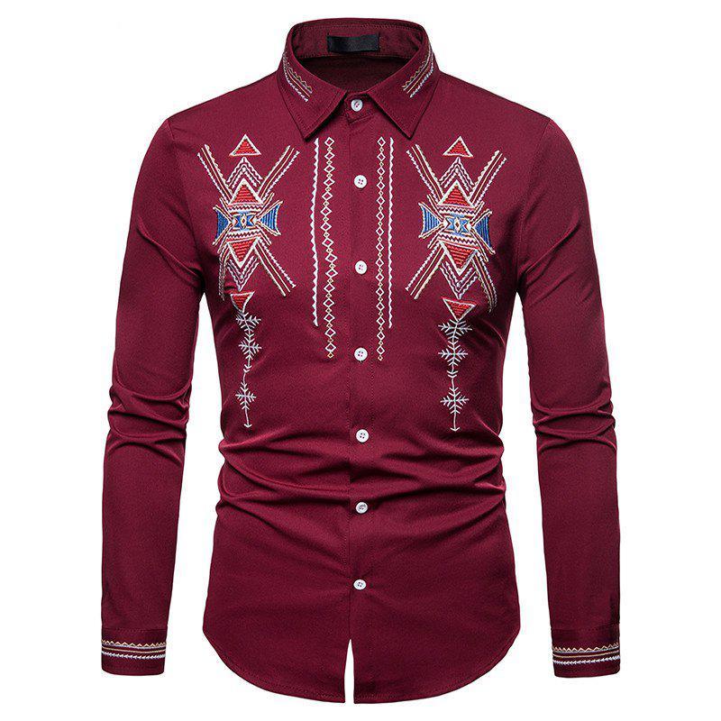New Men's Royal Court Wind Embroidered Large Size Long Sleeve Shirt