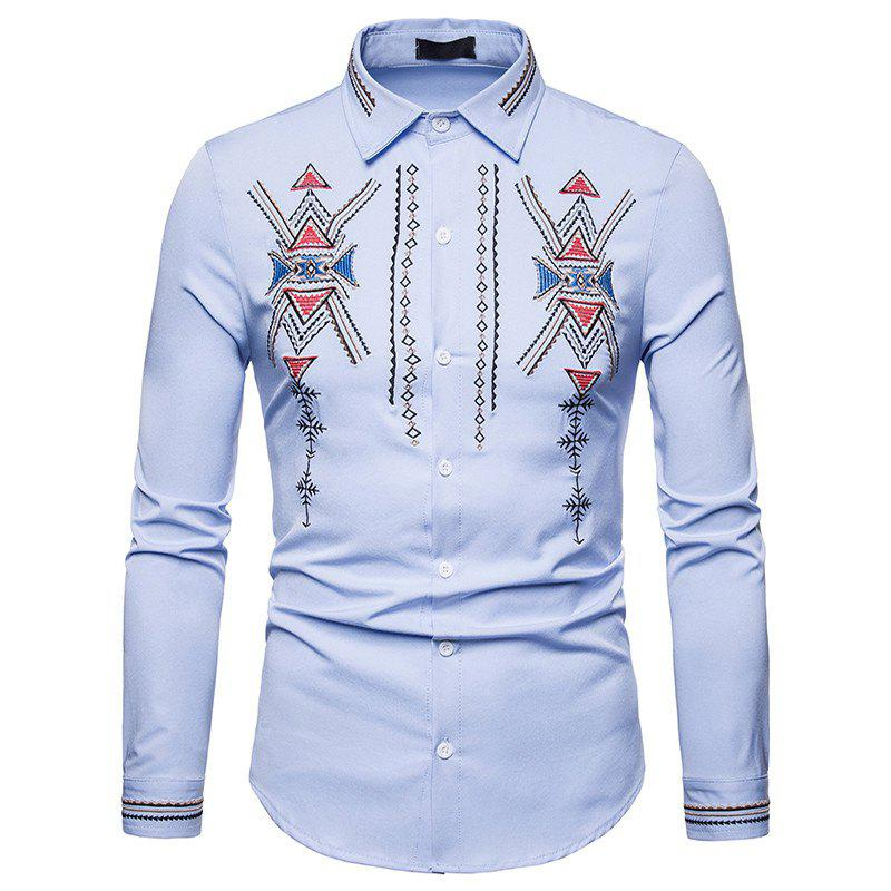 Trendy Men's Royal Court Wind Embroidered Large Size Long Sleeve Shirt