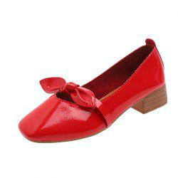 Shallow Butterfly Bow Thick Shoes -