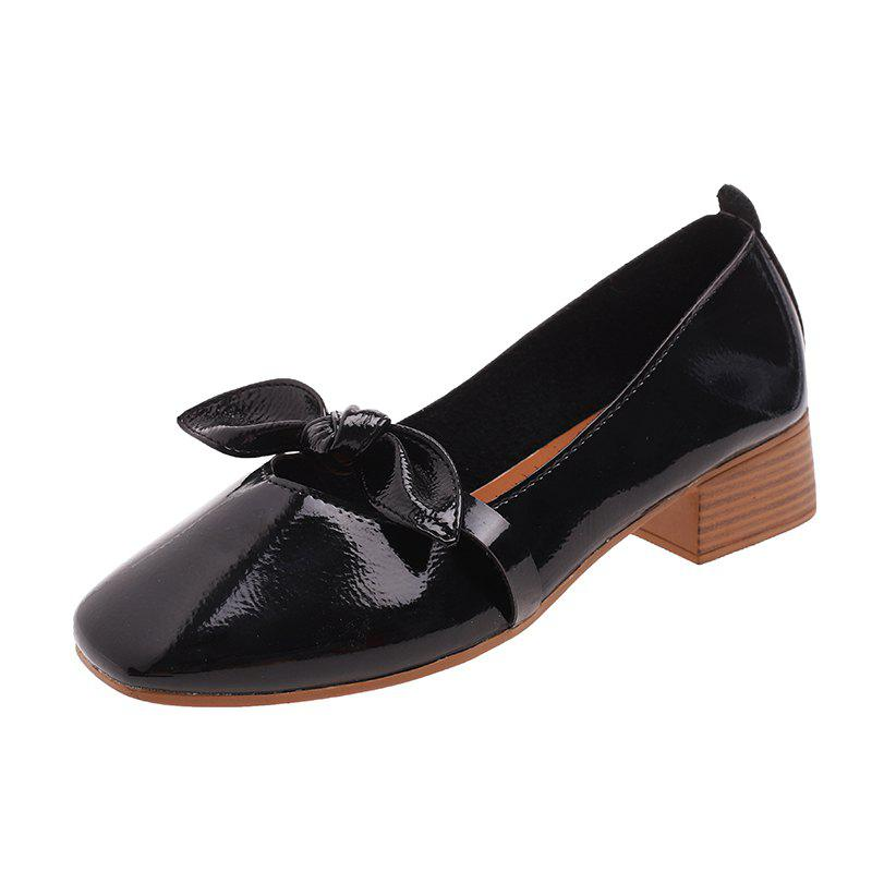 Chic Shallow Butterfly Bow Thick Shoes