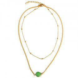 Natural Stone Glass Inlaid with Fashion Necklace -