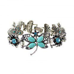Fashion Beautiful Metal Chain Hollow-out Dragonfly Flower Bracelet -
