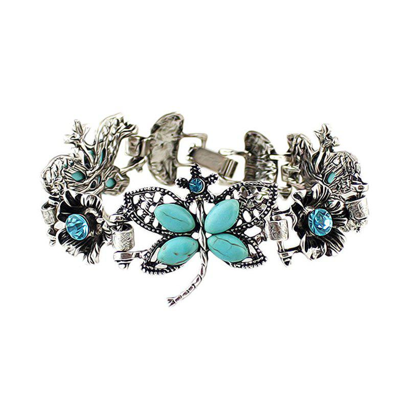 Online Fashion Beautiful Metal Chain Hollow-out Dragonfly Flower Bracelet
