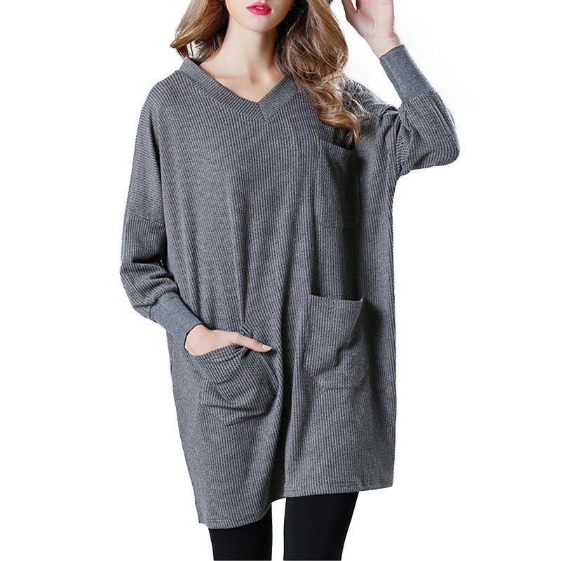Latest Solid Color Loose Casual Knitted Long Sleeve Dress