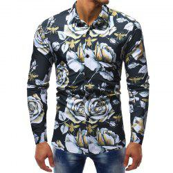 Men's Fashion Contrast Color 3D Flower Print Casual Wild Slim Long-sleeved Shirt -