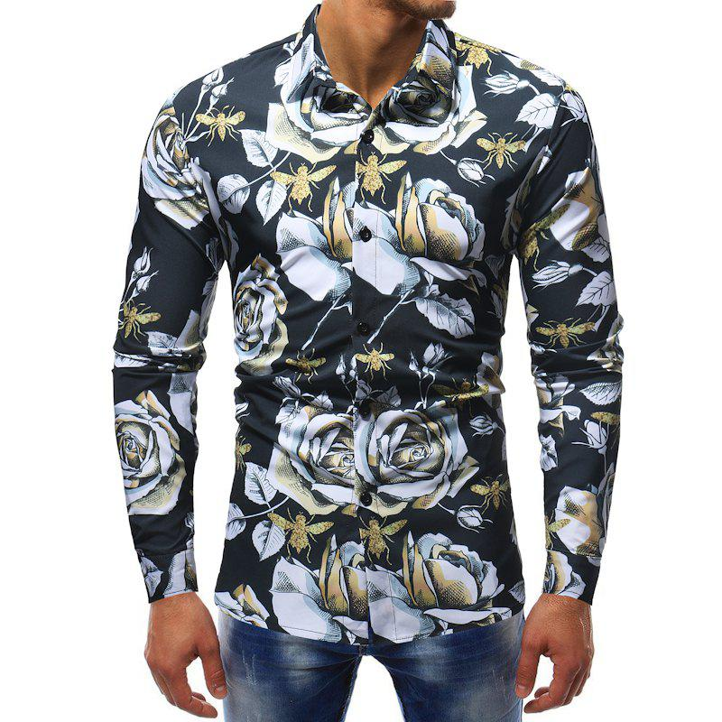 Fancy Men's Fashion Contrast Color 3D Flower Print Casual Wild Slim Long-sleeved Shirt