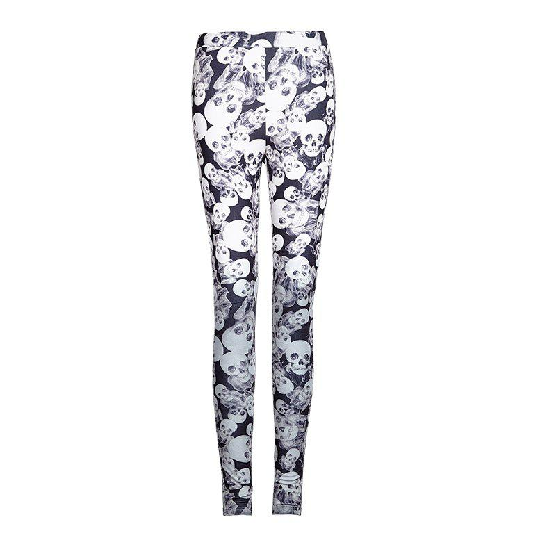 Fashion Camouflage Classic High Elastic Knitted Skull Printed Leggings