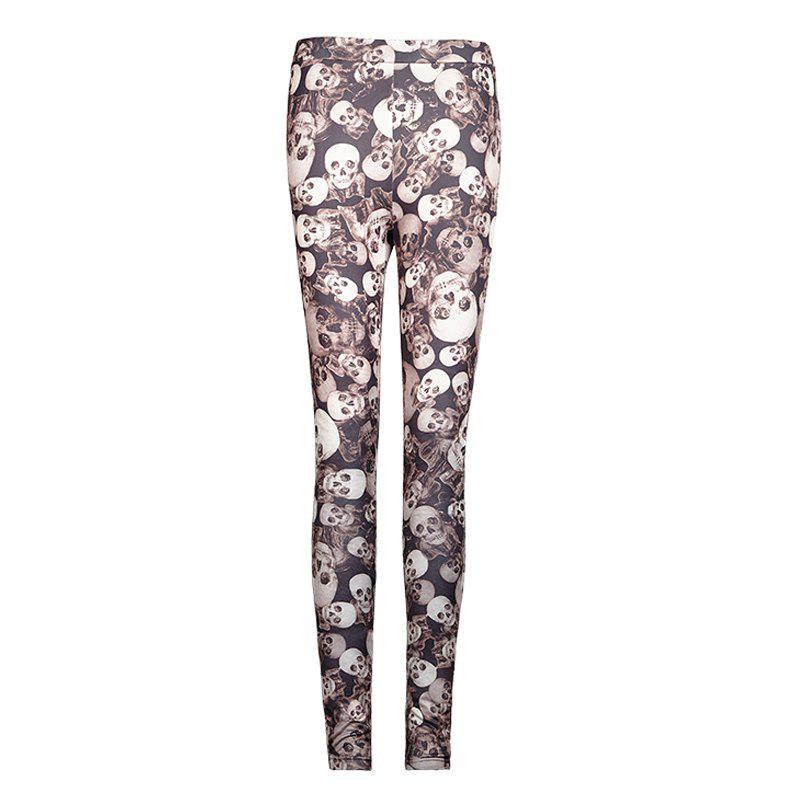 Chic Camouflage Classic High Elastic Knitted Skull Printed Leggings