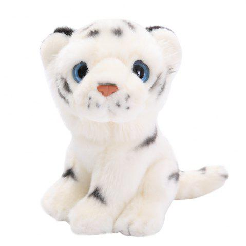 Bengal White 7.5 Inch Large Stuffed Animal Plush Cat - WHITE