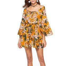 Women's Slash Neck Fashion Print Elastic Waist Flare Sleeve Above Knee Dress -