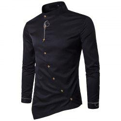 Youth Personality Diagonal Button Irregular High-end Men's Shirt -