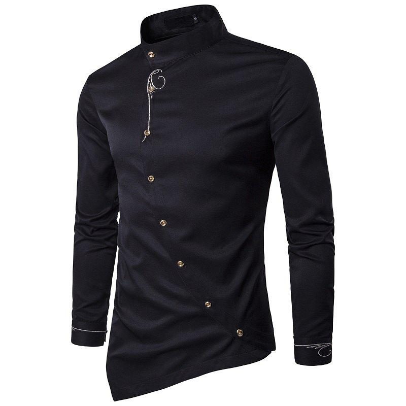 Outfit Youth Personality Diagonal Button Irregular High-end Men's Shirt