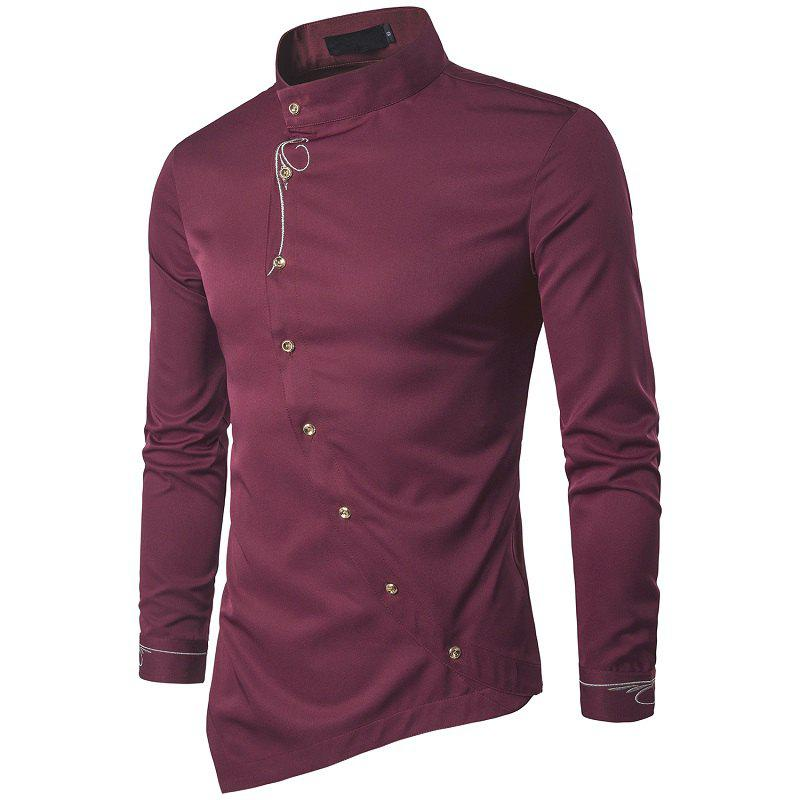 Affordable Youth Personality Diagonal Button Irregular High-end Men's Shirt