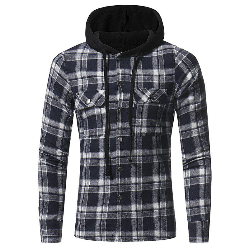 Best Flannel Large  Plaid Double Pocket Hooded Casual Men's Long Sleeve Shirt