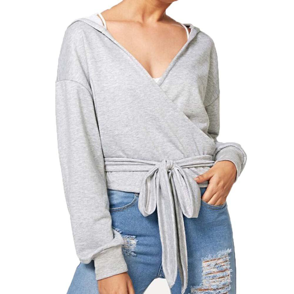 Fashion V Collar Loose Long Sleeve  Hoodie