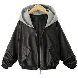 Plus Size Women's Loose Long Sleeves Leather Jacket -