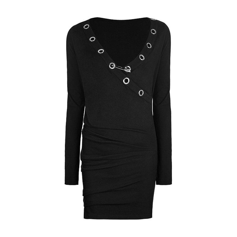 Outfits Deep V Collar Black Sexy Tight Stretch Club Party Dress
