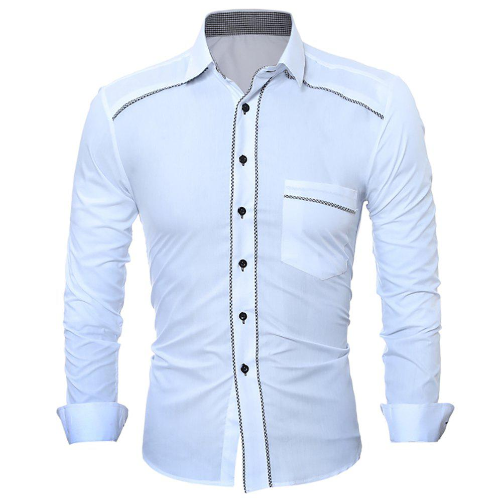 Unique Men's Personality Hem Fashion Solid-Color Leisure Long-Sleeved Body-Trimming