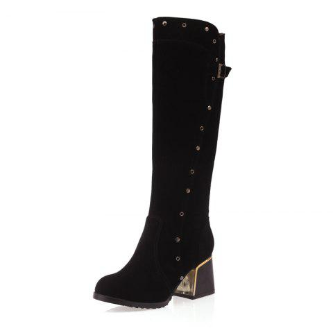 Rivet Medium Thick Follow Frosted Zipper Belt with Lapel Knee Boots
