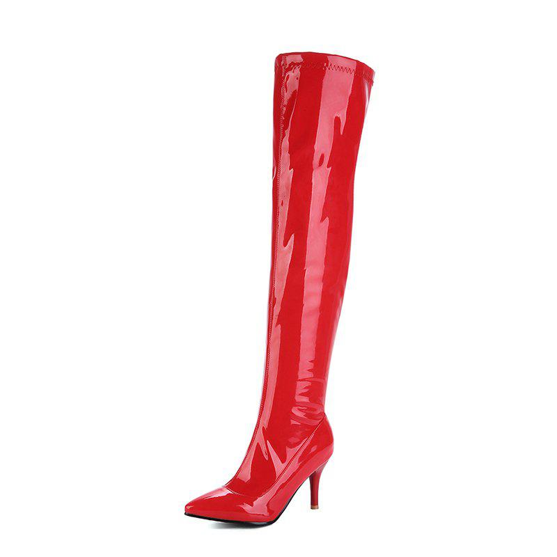 Best Top Zipper Red Wedding Club Over Knee Boots