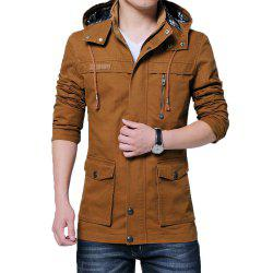Hommes Automne Stand Up Collar Solid Hoodies Vestes -