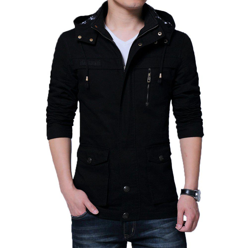 Fashion Men Autumn Stand Up Collar Solid Hoodies Jackets